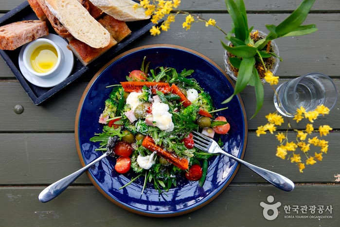 직접 키운 채소로 만든 마이알레 샐러드