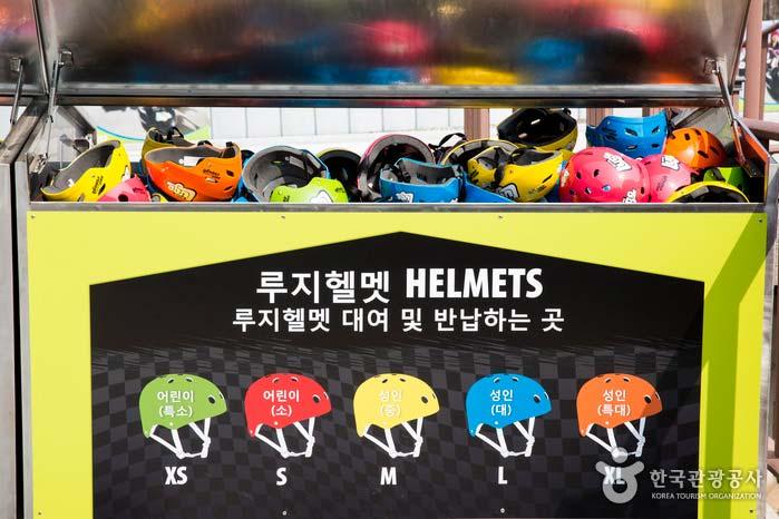 헬멧은 XS, S, M, L, XL로 준비 돼있다
