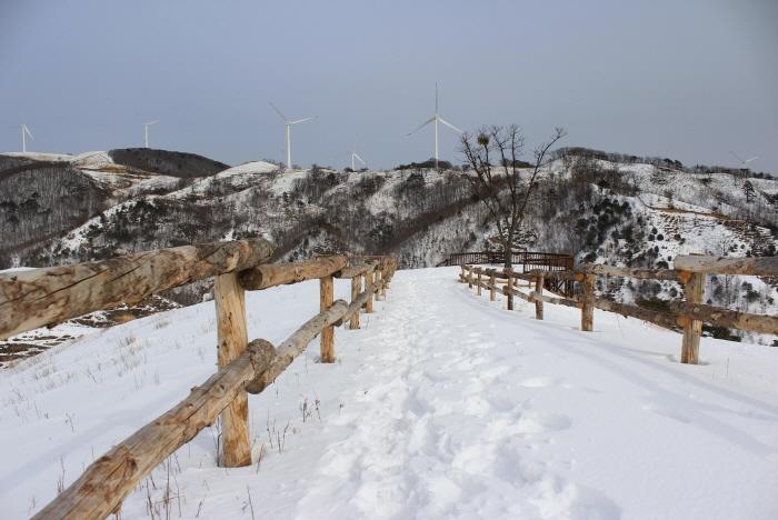 눈꽃마을길 중 데크 전망대와 풍력발전기