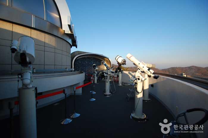 보조관측실에 설치된 여러 종류의 망원경들