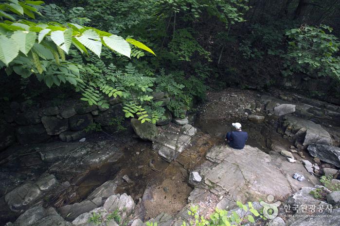 계곡에 걸터앉아 탁족을 즐기니 한층 더 여유롭다.