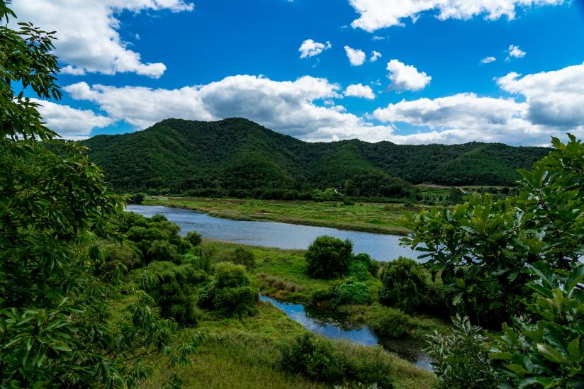 병산서원에서 안동 하회마을로 이동하는 길에 보이는 강 건너 풍경