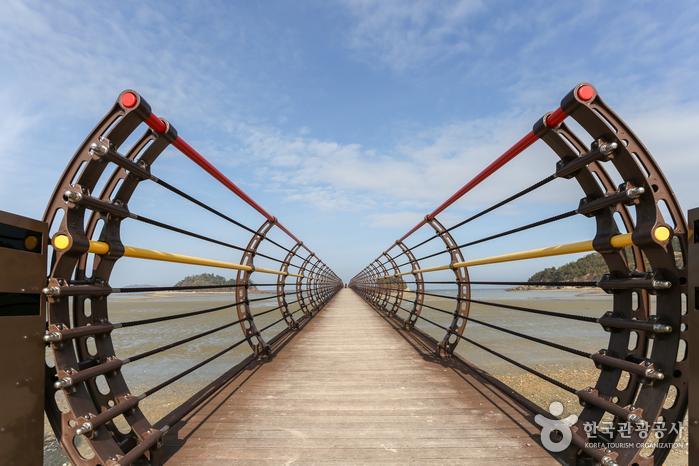 곡선으로 디자인한 난간 때문에 터널로 들어가는 듯한 무한의다리